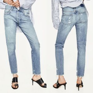Zara NWT Distressed Slim Boyfriend Jeans